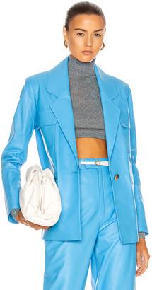 ZEYNEP ARCAY Leather Suit Jacket in Blue | FWRD