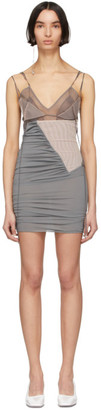 Nensi Dojaka SSENSE Exclusive Beige and Grey Silk 1 Dress