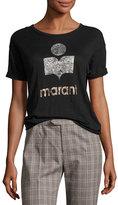 Isabel Marant Koldi Crew Neck Short-Sleeve Tee, Black