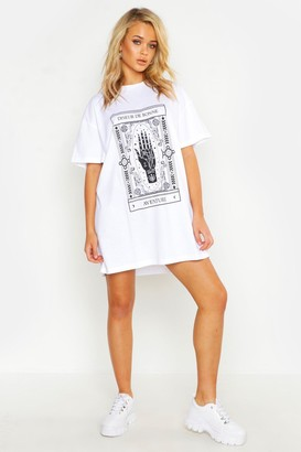boohoo Mystic Print Oversized T-Shirt Dress