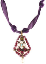 Gerard Yosca Purple Velvet Bronze Tone Metal Pearl Rhinestone Pendant Necklace