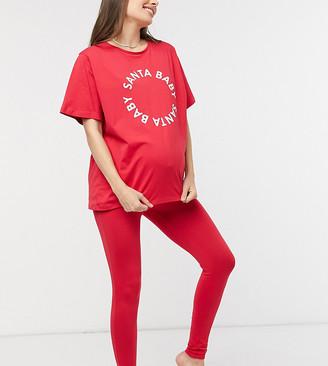 ASOS DESIGN Maternity exclusive Christmas Santa baby tee & legging pyjama set in red