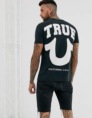 True Religion chest and back logo crew neck t-shirt in black