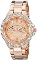 Akribos XXIV Women's AK789YG Gold-Tone Crystal Bezel Watch