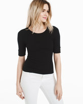 White House Black Market Short Sleeve Ribbed Jewel Neck Sweater