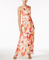 Nine West Pleated Floral-Print Maxi Dress