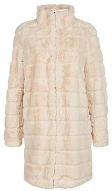 Dorothy Perkins Womens Cream Longline Faux Fur Coat, Cream