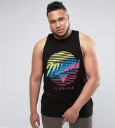 Asos PLUS Longline Sleeveless T-Shirt With Racer Back & Miami Print