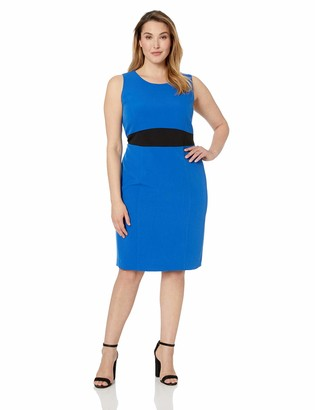 Kasper Women's Size Plus Sleeveless Jewel Neck Stretch Crepe Sheath Dress