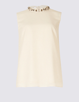 M&S Collection Embellishment High Neck Vest Top