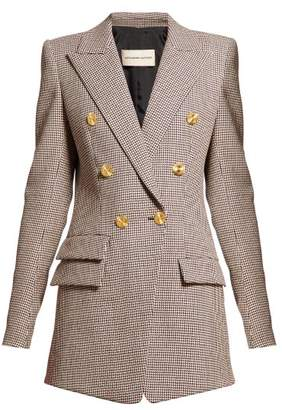 Alexandre Vauthier Gun Club Check Double Breasted Longline Blazer - Womens - Burgundy Multi