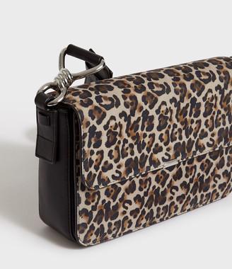 AllSaints Lepi Suede Flap Crossbody Bag
