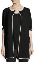 Joan Vass Contrast-Trim 3/4-Sleeve Long Jacket, Black/Multi, Plus Size