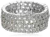 Anne Klein Silver Tone and Crystal Wide Stretch Bracelet