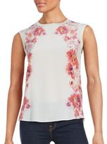 Magaschoni Floral Print Silk Blend Top