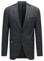 HUGO BOSS Cotton Patterned Blazer, Extra Slim Fit Ronen 38R Charcoal