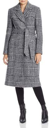 Cole Haan Belted Houndstooth Wrap Coat