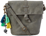 Gray Tassel Fold-Over Crossbody Bag