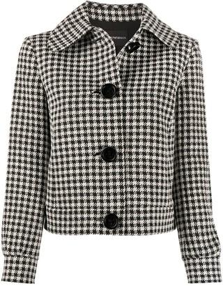 Emporio Armani Round-Collar Houndstooth Jacket