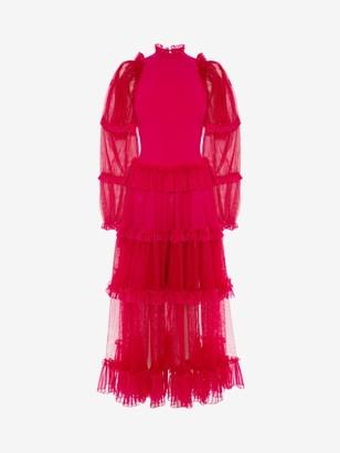 Alexander McQueen Sheer Frill Midi Dress