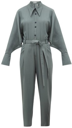 Palmer Harding Palmer//harding - Solo Point-collar Twill Jumpsuit - Womens - Khaki