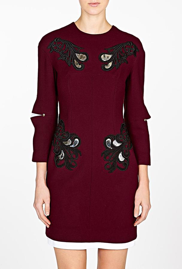 Marios Schwab Lace Appliqué Wool Renaissance Dress