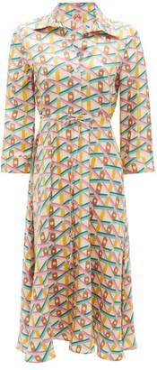 Le Sirenuse Le Sirenuse, Positano - Lucy Balance-print Silk Shirt Dress - Womens - Pink Print