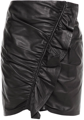 A.L.C. Ruffle-trimmed Ruched Stretch-leather Mini Skirt