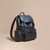 Burberry The Large Rucksack In London Check And Leather, Blue