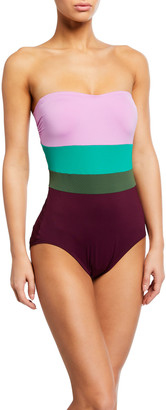 Kate Spade Colorblock Strapless Underwire One-Piece