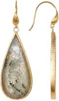 Rivka Friedman 18K Gold Clad Labradorite Slice Teardrop Dangle Earrings