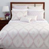 Hudson Park Ikat Ogee Cotton Embroidered Pillow Sham Gray Euro