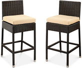 Molly Outdoor Wicker Set of 2 Bar Stools w/Cushions, Quick Ship