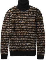 Saint Laurent - Striped Leopard-intarsia Mohair-blend Rollneck Sweater