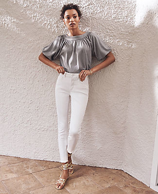 Ann Taylor Petite Frayed Sculpting Pocket Skinny Crop Jeans in White