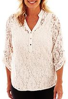 JCPenney Alyx® 3/4-Sleeve Lace-Mix Top - Plus