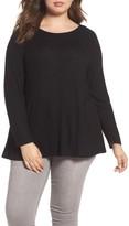 Caslon Plus Size Women's Cozy Back Peplum Top