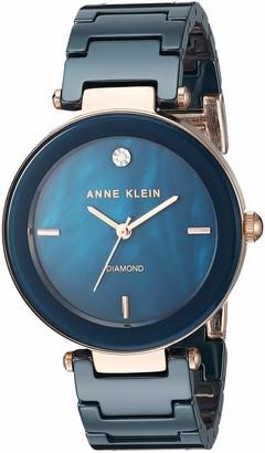 Anne Klein Women's AK/1018BKBK Black Ceramic Bracelet Watch with Diamond Accent