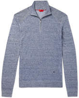 Isaia Slim-Fit Mélange Linen and Cotton-Blend Half-Zip Sweater