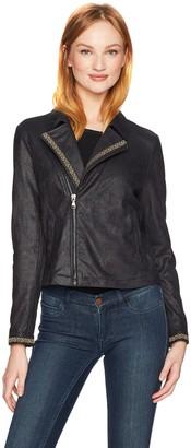 Nanette Lepore Women's Distressed Suede Moto Jacket W/Jacquard Ribbon Trim