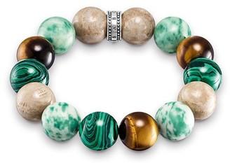 Thomas Sabo Unisex 925 Sterling Silver Brown Green Rebel at Heart Power Bracelet of Length 15 cm A1581-365-7-L15