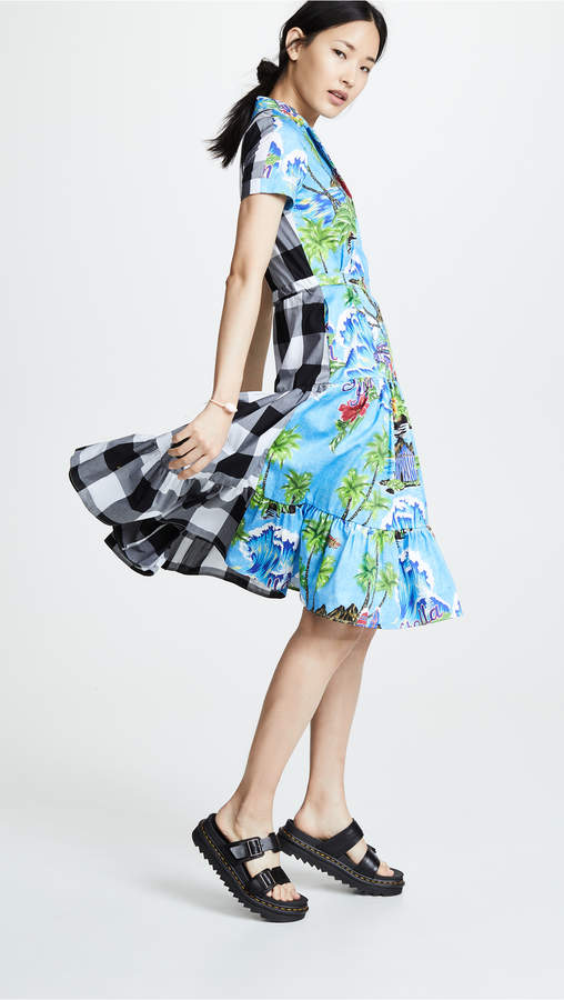 Stella Jean Tropical Gingham Shirtdress
