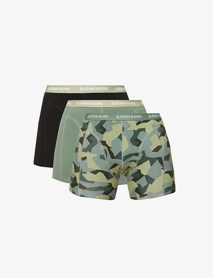 Men Tops Camo Boxer Briefs Trunks Army Camouflage Bungle Pouch Underwear