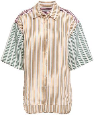 Sandro Leopold Paneled Striped Satin-jacquard Shirt