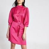 River Island Pink button shoulder belted satin mini dress