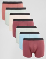 Asos Trunks With Black Waistband 7 Pack Save