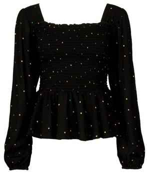 Dorothy Perkins Womens Black Polka Dot Print Square Neck Top, Black