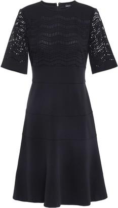DKNY Flared Laser-cut Stretch-knit Dress