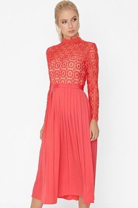Little Mistress Alice Poppy Crochet Top Midaxi Dress With Pleated Skirt