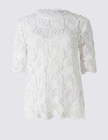 Per Una Lace Round Neck Half Sleeve Shell Top